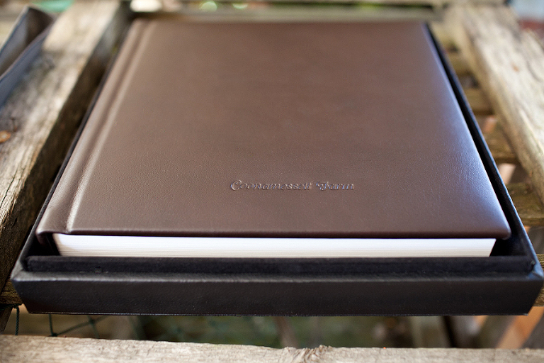 leather wedding album from coonamesset farm cape cod