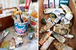paint supplies of a cape cod artist