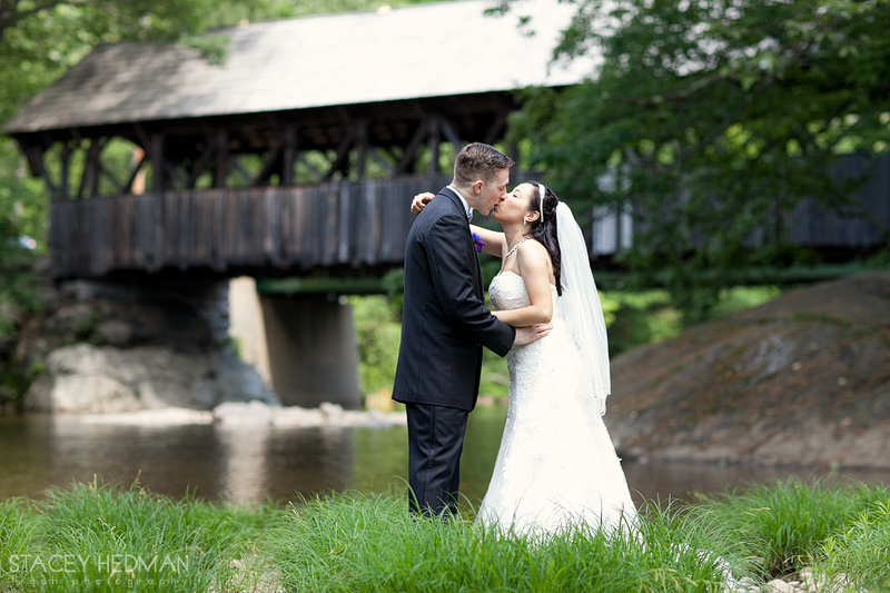 wedding at sunday river covered bridge