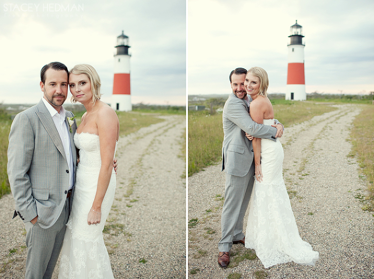 bride and groom wedding at sankaty lighthouse
