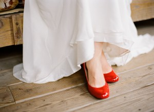 red shoes on your wedding day