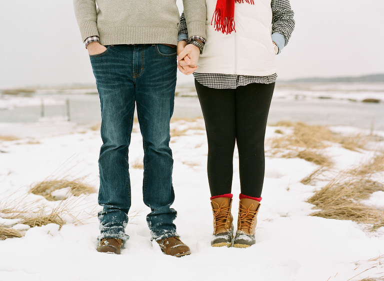 winter engagement on the beach