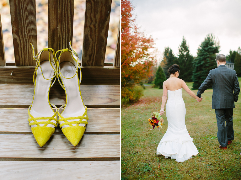 fall wedding in the foliage