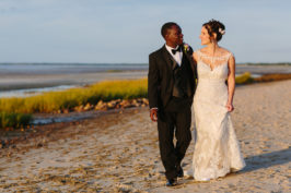 multi racial wedding photos on the beach