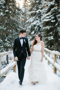 banff winter wedding photo