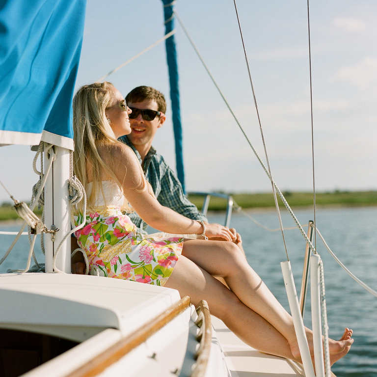 engagement photos on a boat