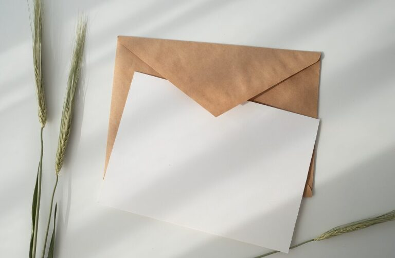 image of a blank letter on a desk