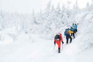 women hiking in the white mountains