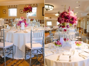 indoor wedding decorations at ocean edge in brewster ma